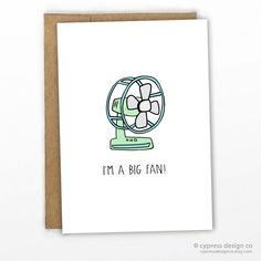 "Love / Valentines / Friendship / Graduation Card Here's a pun-ny card for any occasion- everyone likes to have a good fan base!!! - Blank Inside - A2 size (4.25"" x 5.5"") - 100% Recycled Heavy Card Sto"