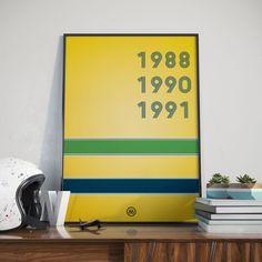 Pôster do Ayrton Senna Para os gearheads fascinados por Fórmula 1, estes três anos trazem em nossas memórias uma época de ouro do esporte. Estes três anos (que poderiam ter sido 4, não fosse o francês), foi a última época dourada do esporte para o nosso país. Quadro em homenagem ao nosso grand ídolo. #quadro #poster #f1 #formula1 #senna sempre #decoração #poster #ayrtonsenna #senna