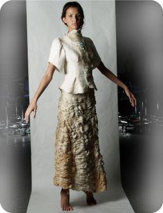 hand shirred antique kimono silk skirt, hand felt top