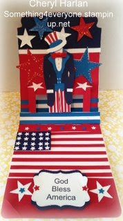 Pop up Card. Stampin' Up! Dress Form and Pop 'n Cuts Card Base plus free Uncle Sam template. Something 4 Everyone Cards and Crafts: Happy 4th of July