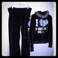 RARE..VS VELOUR FUR BLING Hoodie SET Victoria's secret love pink black silver gold bling glitter pant suit soft warm for Winter   M/L all glitter rhinestones attached and sequined dog .Gold waist bands zip hoodie with fur used... but still lots of wear left very nice..  VS Pants say I Love Of  M  sweatshirt zip says I love Stanford Victoria's Secret Pants