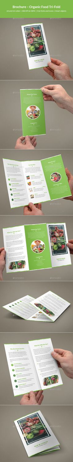 Brochure �20Organic Food Tri-Fold by artbart This is a brochure for many applications. You can easily edit and adapt to your business, as well as organic food, farm, farm offe