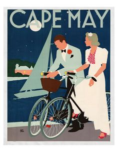 Evening Bike. This lovely vintage travel poster has been custom designed for Cape May. The image is available in four different sizes and printed on high quality archival paper. The prints are rolled