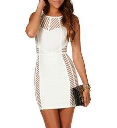 White Illusion Caged Dress