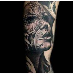 Artist: Tony Mancini Collage tattoo girl clock face filigree black