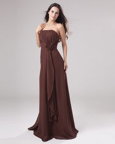 Cheap Chiffon Empire Strapless Floor Length Women's Bridesmaid Dress