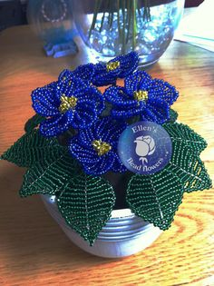 African violet bead flower arrangement in pot by Ellensbeadflowers