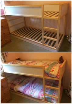 Phase one of the customised Kura bed. Raised the lower section slightly and added bed slats to make it a proper bunk bed. Lower than a normal bunk bed as our girls are still young. Bunk Beds With Stairs, Kids Bunk Beds, Baby Zimmer Ikea, Ikea Kura Bed, Kura Bed Hack, Sister Room, Shared Bedrooms, Kid Bedrooms, Girl Rooms