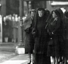 Three Queens in Mourning - Queen Elizabeth II, Queen Mary and Queen Elizabeth the Queen Mother (from left to right) at the funeral of George V1.
