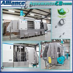 A dunnage washer for pallets, lids and trays with wash and blowoff modules. Includes an exhaust fan system, micro filtration and extended conveyor load and unload areas. (718)
