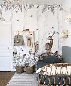 Collection Dominotiers Volume an ode to nature seen by day and by night. Tailor-made panoramic decor with Woody Chesnut forest animals. Bespoke wallpaper mural with the forest animals Woody Chesnut. Baby Bedroom, Nursery Room, Girl Room, Girls Bedroom, Bedroom Decor, Nursery Ideas, Playroom Ideas, Girl Nursery, Bedrooms