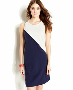 Zooey Deschanel for Tommy Hilfiger Sleeveless Colorblocked Button-Shoulder Shift Dress - Tommy Hilfiger Apparel - Women - Macy's