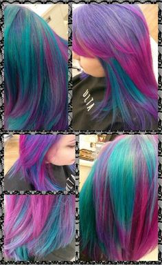 My hair :) Tricolor with MANIC PANIC atomic turquoise, electric amethyst and hot hot pink! Blended in 4 sections with ombré application.