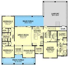 1900 sq ft 3 Bed Acadian Home Plan with Bonus Over Carport - floor plan - Main Level Acadian Homes, Acadian House Plans, New House Plans, House Floor Plans, The Plan, How To Plan, Plan Plan, Autocad, European Plan