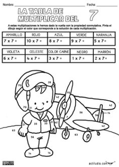 Tabla del 7P Multiplication Activities, Kids Math Worksheets, Math Activities, Math For Kids, Puzzles For Kids, Post Reading Activities, Math Sheets, Third Grade Math, Math Numbers
