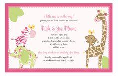 Baby Jungle Pink Baby Shower Invitation