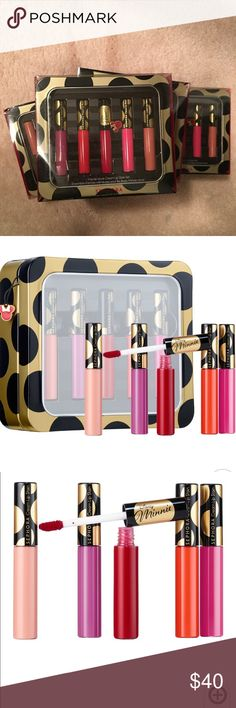 Sephora Minnie Mouse Lip Stain Sephora Limited Edition Disney Minnie Mouse Cream Lipgloss Stain Set, 5 Shades. New in Box These high-coverage Lip Stains provide beautiful, long-lasting color. The formula features avocado oil for a texture that transforms as you wear it: when applied, the initial cream texture becomes a silky, lightweight stain. Lips achieve stunning color and feel soft and comfortable.  Includes: 5 x 0.10 oz/ 2.8 g Lip Stains in African Violet, Mandarin Muse, Always Red…