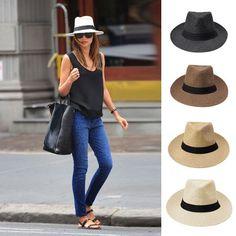 Women Fedora Wide Brim Straw Trilby Cap Unisex Panama Summer Beach Sun Hat
