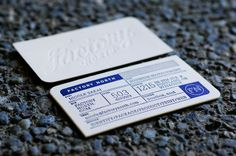 Business card design for Factory North. Inspired by the design of industrial forms and printed in Reflex blue, a color that was traditionally used in the hand print making process, to show respect for the history of its usage. The paper weight was chosen to accomplish the double-sided deep letterpress impression.