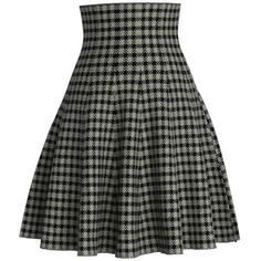 Chicwish High Rise Knitted Skater Skirt in Check (115 BRL) ❤ liked on Polyvore featuring skirts, black, knee length skater skirt, circle skirt, chicwish skirt, high-waisted flared skirts and flared skirt