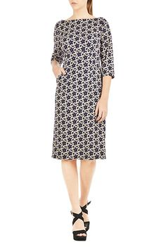 I <3 this Floral print jersey shift dress from eShakti