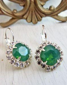 Jade Green Opal Earrings Green Opal Rhinestone