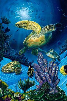 Ocean Fest by David Dunleavy Sea Turtle Quilts, Sea Turtle Art, Underwater Painting, Ocean Paintings, Sea Turtle Wallpaper, Turtle Images, Ocean Tattoos, Turtle Painting, Mural Art