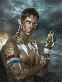 Erwin Olaf portrayed Dutch football players as gladiators. Edwin van der Sar