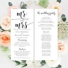 Elegant wedding program template Mr and mrs wedding DIY wedding programs Editable wedding program Ceremony program template Romantic wedding by ViolaMirabilisPrints on Etsy