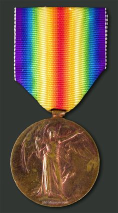 The Victory Medal of Pvt. Buckam Singh. The only known surviving medal of one of the 10 Sikh soldiers allowed to serve in the Canadian military in World War I. To learn more see the SikhMuseum.com Exhibit - Private Buckam Singh, Discovering a Canadian Hero