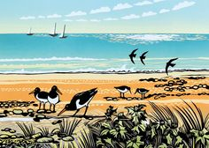 'Sea Holly and Oystercatchers' By Printmaker Rob Barnes. Blank Art Cards By Green Pebble. www.greenpebble.co.uk