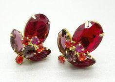 Vintage Juliana D&E Earrings Ruby Red by LeesVintageJewels on Etsy #GotVintage  #Vintage  #Jewelry