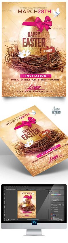 """Create an eye-catching flyer quickly with this psd Templates ! So Here are our """"Psd Easter Flyer"""" #easter #happy #party #flyer #template #psd #creative #flyers f#event"""