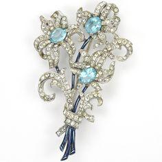 Trifari 'Alfred Spaney' Triple Aquamarine Flowers Floral Spray Pin