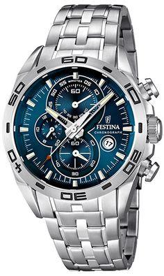 Montre Festina Homme Acier - Quartz Chronographe Date Chnomètre - Bracelet  et Cadran en Acier inoxydable Argent aad953a6a1e7