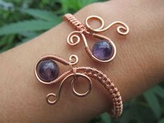 Amethyst Copper Wire Double Loop Spiral by TheGemstoneGoddess