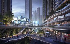 Cyberpunk City, Futuristic City, Futuristic Architecture, Floating Architecture, Landscape Architecture, Sci Fi City, Future Buildings, Commercial Street, Fantasy Castle