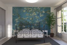 Vincent van Gogh's blossoming almond tree. A wall mural for the bathroom.