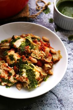 One-Pot Tuscan Baked White Beans and Artichokes with Ricotta and Basil Oil - Eats Well With Others