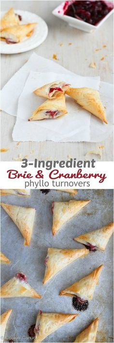 Only 3 ingredients needed for these amazing Brie and Cranberry Phyllo Turnovers. Irresistibly flaky and perfectly cheesy! 58 calories and 2 Weight Watchers SmartPoints