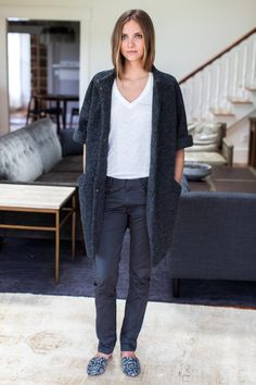 Emerson Fry frenchie pant, Topper coat - pebble wool, Emerson slides