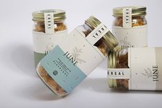 Mason Jar Cereal - This mason jar cereal packaging is conceived by designer Dan Wells. The brand identity concept is created for June Cereal, a food manufacturer that. Cereal Packaging, Spices Packaging, Honey Packaging, Jar Packaging, Bakery Packaging, Cookie Packaging, Design Packaging, Packaging Ideas, Pots