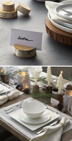 15 Inspirational Ideas For Creating A Modern Christmas Table Full Of Natural Elements // Thinly sliced wood stumps add a simplistic natural touch to the table and are perfect for clearly displaying name cards.