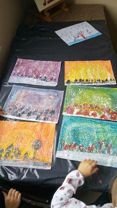 Pastel boya ile kar resim çalışması