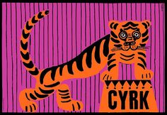 Tiger on Podium, CYRK, Circus, Polish Poster Wiktor Gorka