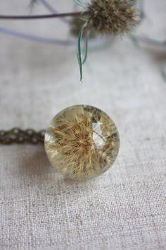 Dark dandelion. Real dandelion pendant. Pendant by Dingaya on Etsy