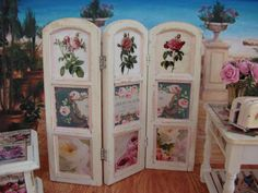 room+dividers+shabby+chic | Dollhouse Miniature Shabby Chic French Ephemera Screen Room Divider ...