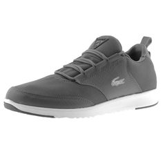 Lacoste Sport Active Light 01 GTSP SPM Running Trainers In Dark Grey, Full lace fastening in dark grey with a panelled upper in synthetic dark grey fabric and faux croc print leather in dark grey. A faux leather heel panel with stitch detail in dark grey and a rubberised Lacoste Active logo patch in dark grey with a pull tab on the heel. The signature rubberised Lacoste Crocodile logo is situated on the outstep of the shoe in silver and black with another rubberised Lacoste Active logo on…