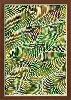 Framed Giclee Print: Tropical Leaves in Yellow and Green by Cat Coquillette : 21x15in