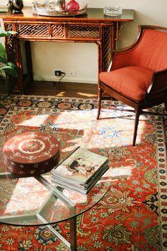 Colorway Light Walls Wood Floor Red Rug Caramel Tan